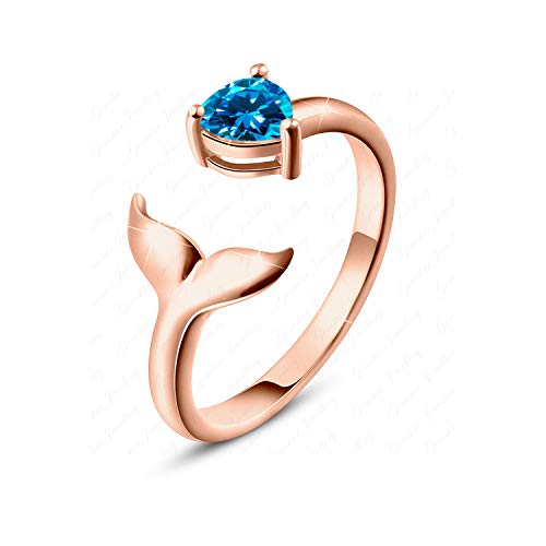Gemstar Jewellery Designer Mermaid Toe Ring in 14k Rose Gold Finished Pear Blue Topaz 925 Solid Silver 14k Designer Toe Ring