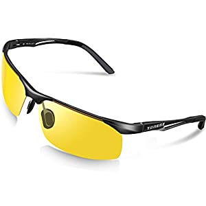 TOREGE Men's Sports Style Polarized Sunglasses For Cycling Running Fishing Driving Golf Unbreakable Al-Mg Metal Frame Glasses M294 (Black&Black Tips&Yellow lens)