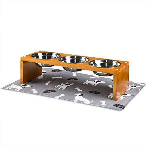 Yangbaga Elevated Dog Bowls, Raised Dog Bowls with Stainless Steel Dog Bowls, Came with Anti-Slip Feet for The Stand and Noise Preventing Bulges for Bowls (26.4 9.2 7.2 in)