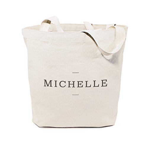 (The Cotton & Canvas Co. Personalized Modern Name Beach, Shopping and Travel Resusable Shoulder Tote and Handbag)