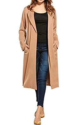 Zeagoo Women's Open front Long Trench Coat Casual Lightweight Blazer Cardigans