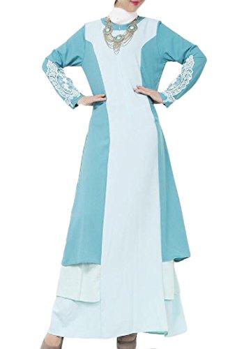 Confortables Femmes En Forme Musulman Ciel Robe Manches Longues Dinde Dentelle Abaya Bleu