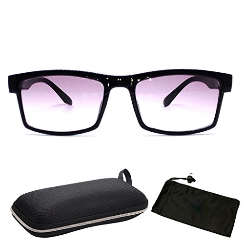 Unisex Men & Women Rectangular Square Shape Bifocal Sun Reader Sunglasses For Outdoor and Indoor Usage INCLUDED FREE: Hard Case + Cleaning Cloth (Readers Tinted Bifocal Mens)