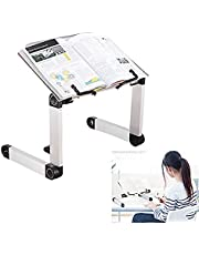 Adjustable Book Stand, Laptop Stand, Height and Angle Adjustable Ergonomic Book Holder with Page Paper Clips for Big Heavy Textbooks Music Books Tablet Cook Recipe Durable Lightweight Aluminum Book Holder Collapsible Tray Gift Idea for Family Friend Student