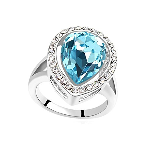 Epinki Gold Plated Ring, Womens Ocean Blue Single Teardrop CZ Around Cubic Zirconia Ring Size 6.5