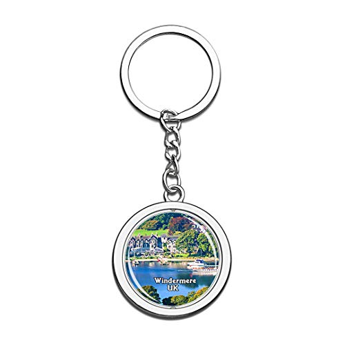 Windermere Lake UK England Keychain 3D Crystal Creative Spinning Round Stainless Steel Keychain Travel City Souvenir Collection Key Chain Ring]()