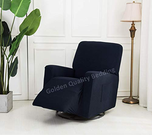 Golden Quality Bedding Stretch Recliner Slipcover One Piece Furniture Protector with Elastic Straps and Pocket Polyester Spandex Supersoft Non-Brushed Fabric Fits Most Recliner Sizes (Navy Blue)