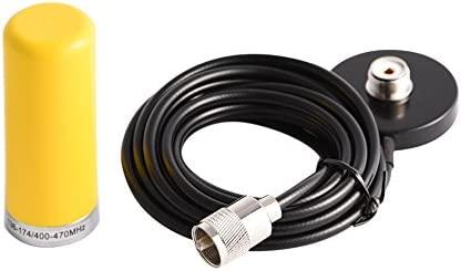 Antena De Radio Móvil De Vehículo De Banda Dual VHF/UHF con Cable De Base De Montaje Magnético para Radio Bidireccional De Coche ...