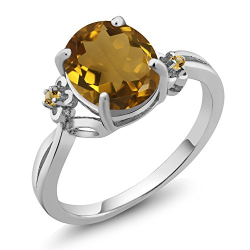 Gem Stone King 2.04 Ct Oval Whiskey Quartz Yellow Simulated Citrine 925 Sterling Silver Ring (Size 5)