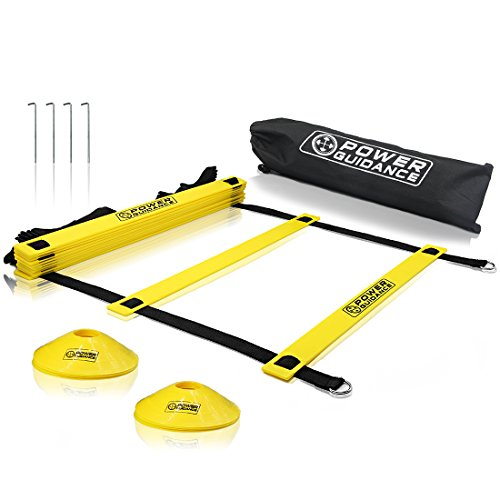 Power Guidance Agility Ladder (19 Feet) for Speed & Agility Trainning - with 12 Heavy Duty Plastic Rungs, Ground Stakes, Carry Bag & 6 Sports Cones (Backyard Baseball Wii Game)