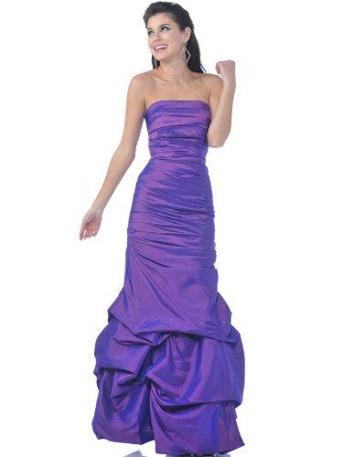Sung Boutique Women's Strapless Taffeta Evening Dress with Pick Up Hem M Purple