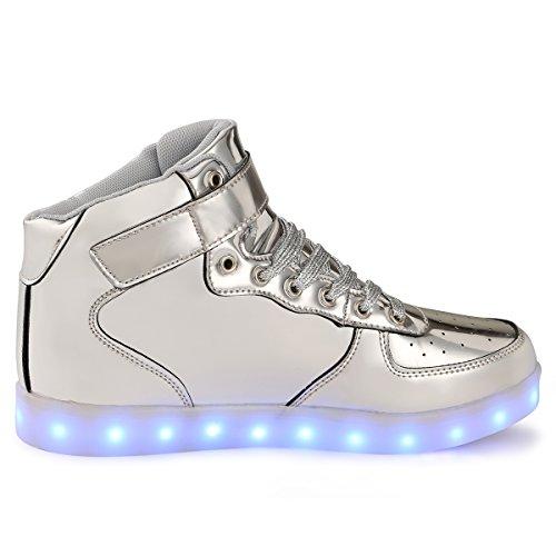 adituob [farbe] 7 USB - ladegerät LED, Junge Mädchen, die Männer Frauen schuhe-Silber-41