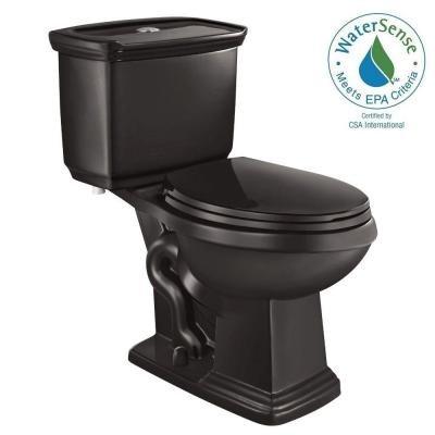 Glacier Bay 2-piece 1.0 GPF/1.28 GPF High Efficiency Dual Flush Elongated Toilet in Black