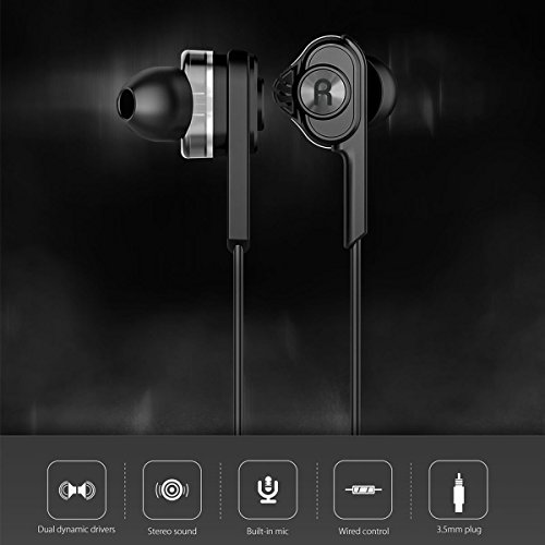 Wired Earphones with Mic In Ear buds with Volume Control BlitzWolf Noise Isolating Headphones Dual Dynamic Driver Bass 3.5mm Stereo Sound for phone - PC more (Black)