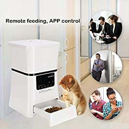 HomeRunPet Automatic Pet Feeders Smart Food Dispenser for Small Dogs and Cats with Wi-Fi Enabled Feeder, Touch Control, Feeding Memory Storage, Programmable Timer for up to 5 Meals/Day