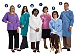 Denline DL3630 33'' Disposable Lab Coat- Standard Weight/High Fluid Resistance- Color: Denim, Large 10pk