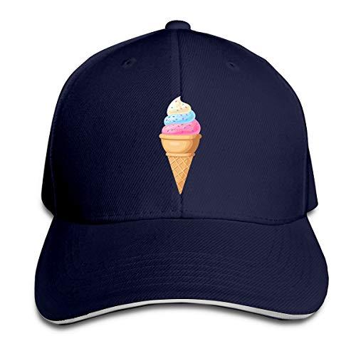 Kidhome Unisex Adjustable Plain Hat Ice Cream Cone Sporting Baseball Cap Outdoor Snapback Hat