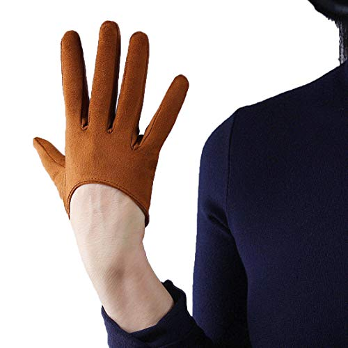 (QIN FE Suede Long Gloves Faux Leather 5