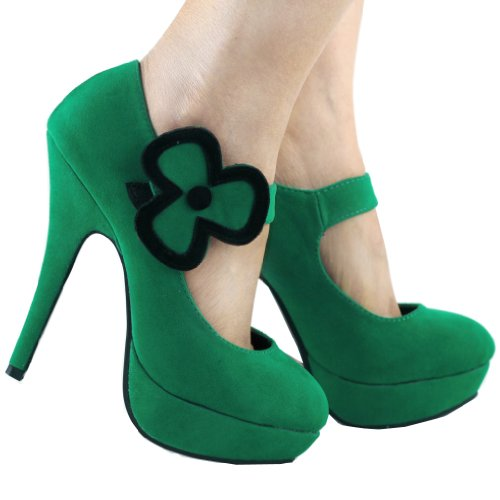 "Show Story mujeres trébol hojas 5""talón Mary Jane Stiletto plataforma bombas, lf30439 Verde"