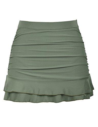 Hilor Women's Skirted Bikini Bottom High Waisted Shirred Swim Bottom Ruffle Swim Skirt Army Green 8(fits 4)
