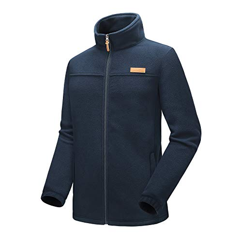 - Kolongvangie Men Performance Fleece Full-Zip Venture Jacket Unisex Basic Pullover Outerwear Navy Blue