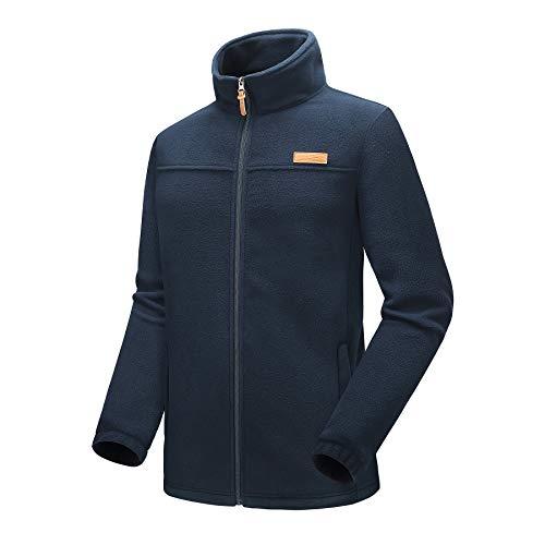 Kolongvangie Men's Fleece Pullover Jacket Zip Pocket Outdoor Sport Sweater Sweatshirt Navy Blue