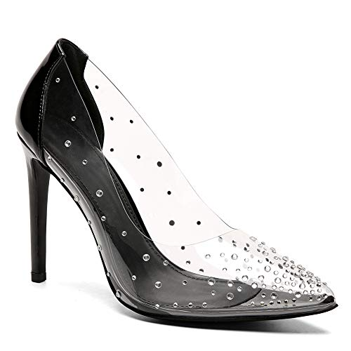 993a4722a9e9 VANDIMI Clear High Heels for Women Stiletto Pointed Toe Pumps with Rhinestones  Sexy Party Prom Dress