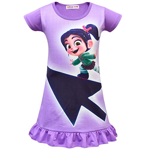 Girls Dress for Wreck-It Ralph Vanellope Baby Sugar Rush Party Dress up Costumes Pajama Nightgown -