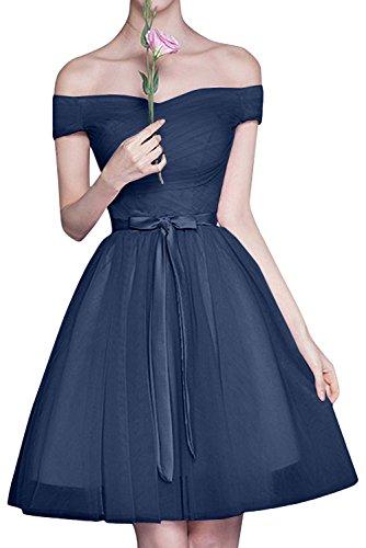 Braut Rock Schulterfrei Brautjungfernkleider Cocktailkleider Linie Tuell Blau Abendkleider Mini Navy Rosa A La mia g5fPwxqp