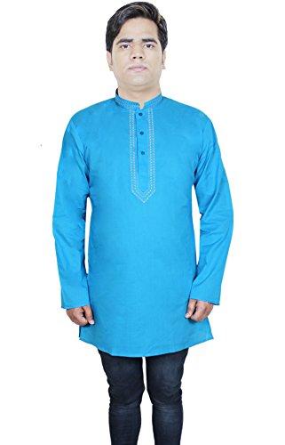 Kurta robe chemise en coton à manches longues mens button up polo