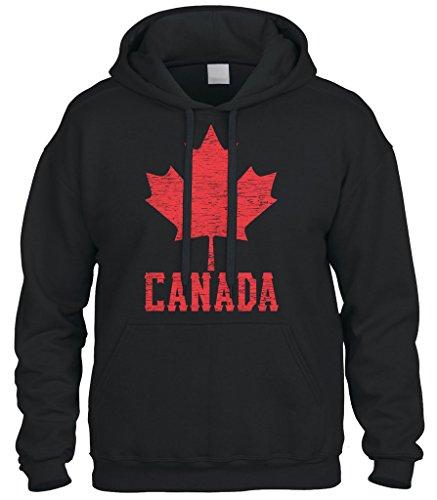 Cybertela Canadian Flag Canada Maple Leaf Sweatshirt Hoodie Hoody (Black, Small) ()