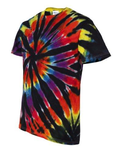 (Tie-Dyed Rainbow Cut-Spiral Short Sleeve T-Shirt (Black Rainbow, XL))