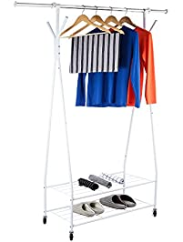 3s rolling garment rack with racks for hanging clothescoat rack