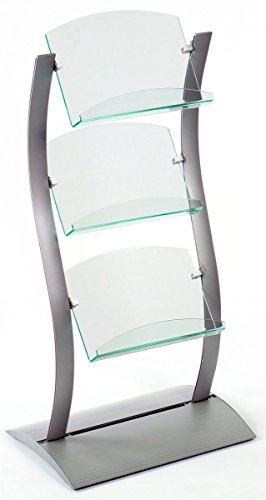 [Floor-Standing Literature Rack with 3 Green Edge Acrylic Pockets, Unique Wave-Like Design - Silver, Aluminum] (Floor Standing Acrylic)