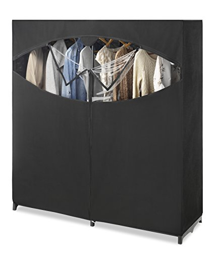 Storage Wardrobe Closet - Whitmor Portable Wardrobe Clothes Storage Organizer Closet with Hanging Rack - Extra Wide -Black Color - No-tool Assembly - Extra Strong and Durable - 60