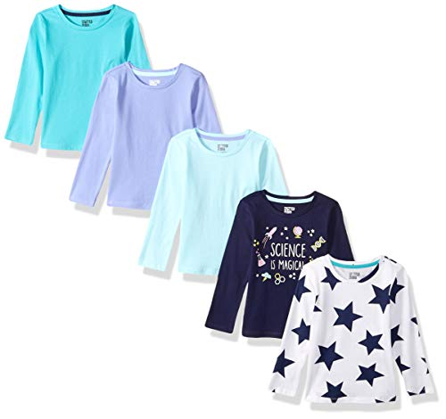 Amazon Brand - Spotted Zebra Girls' Toddler 5-Pack Long-Sleeve T-Shirts, Blue Star, - T-shirt Toddler Star