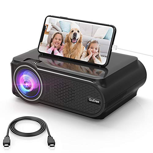 Mini Video Projector, GuDee 2800LM HD Movie Projector Portable LED Projector Support 1080P for Home Theater Outdoor, Compatible with Phone/Laptop/USB/SD/AV/VGA/PS4