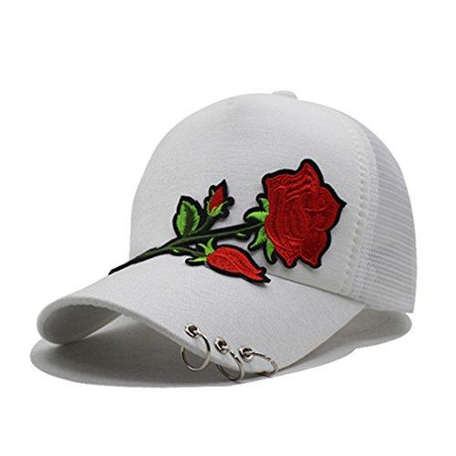 - Treytcap Women Baseball Cap Girls Caps Hats For Women 5 Panel Mesh Flower Lady Sun Hat white