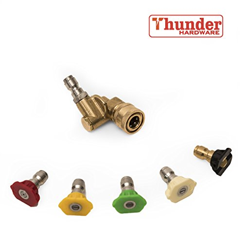 """Thunder Hardware 4500 PSI Pressure Washer Accessories Kit, 5 Pressure Washer Spray Nozzle Tips, 1xPivoting Coupler,1/4"""", 3 GPM, Compatible with All Pressure Washer Guns"""
