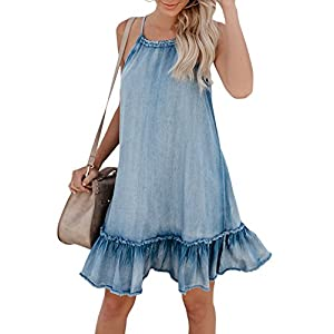 Cosygal Women's Denim Sleeveless Halter Ruffle Back Hollow Out Loose Mini Dress