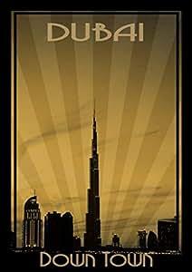 Photo Of Dubai Skyline Down Town - Sepia, Print Only (a4)