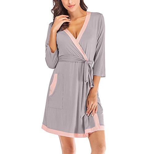 hellomiko Camicia da notte comoda da donna, pigiama con scollo a V Grigio