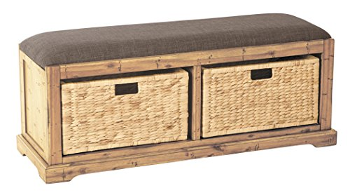 Office Star Sheridan Wood Storage Bench with Distressted Toffee Uphostered Seat and 2 Natural Pullout Baskets