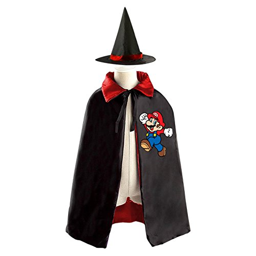 Super Mario Children's Halloween Costumer Cape and Wizard Hat Cap Cloak