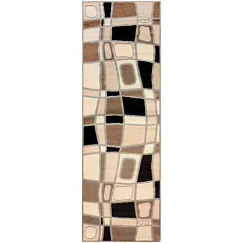 Superior Cobblestone Collection Area Rug, 8mm Pile Height with Jute Backing,  Bold Modern Geometric Pattern, Fashionable and Affordable Rugs, 2'7