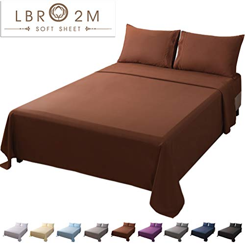 LBRO2M Bed Sheet Set King Size 16 Inches Deep Pocket 1800 Thread Count 100% Microfiber Sheet,Bedding Super Soft Comforterble Hypoallergenic Breathable, Resistant Fade Wrinkle Cool Warm,4 Piece (Brown)