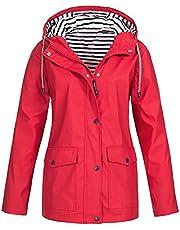 JEGULV Raincoat Womens Plus Size Hooded Jackets Outdoor Windbreaker Waterproof Rain Coats Lightweight Packable Trench