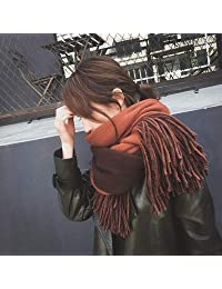 YUANZ Home Scarf Female Winter Wild Wool Knit Couple Thick Korean Version of The Long Tassel Student Striped Scarf (Size : I)