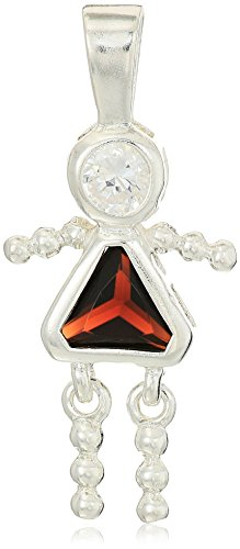 (Sterling Silver AAA Cubic Zirconia Simulated Birthstone Babies Girl Charm, January)