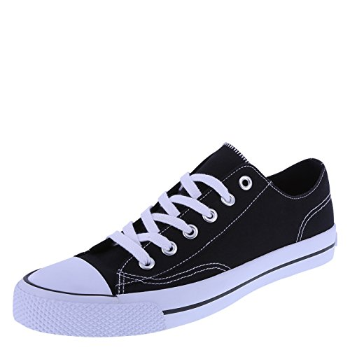 Airwalk Men's Black White Canvas Men's Legacee Sneaker 13 Regular Canvas Mens Sneakers